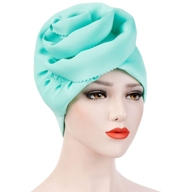 HT2321 Spring Summer Women Muslim Scarf Cap Solid Plain Islamic Head Wear Hat Turban Head Scarf Headwrap Women   Skullies     Beanies