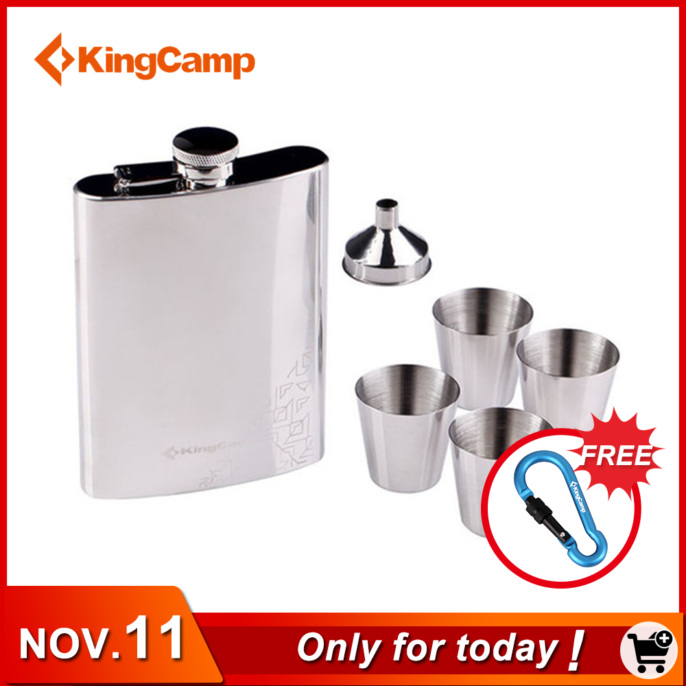 KingCamp Stainless Steel Alcohol Hip Flask Set 250ml Portable Small Mini Whiskey Flask Drink Mug for Outdoor Camping Travelling цена и фото