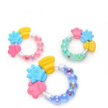 New Cartoon Baby Baby Teether Educational Toys Bite Baby Rattle Round Teether Toys Bed Silica gel Hand Bell Educational Toys(China)