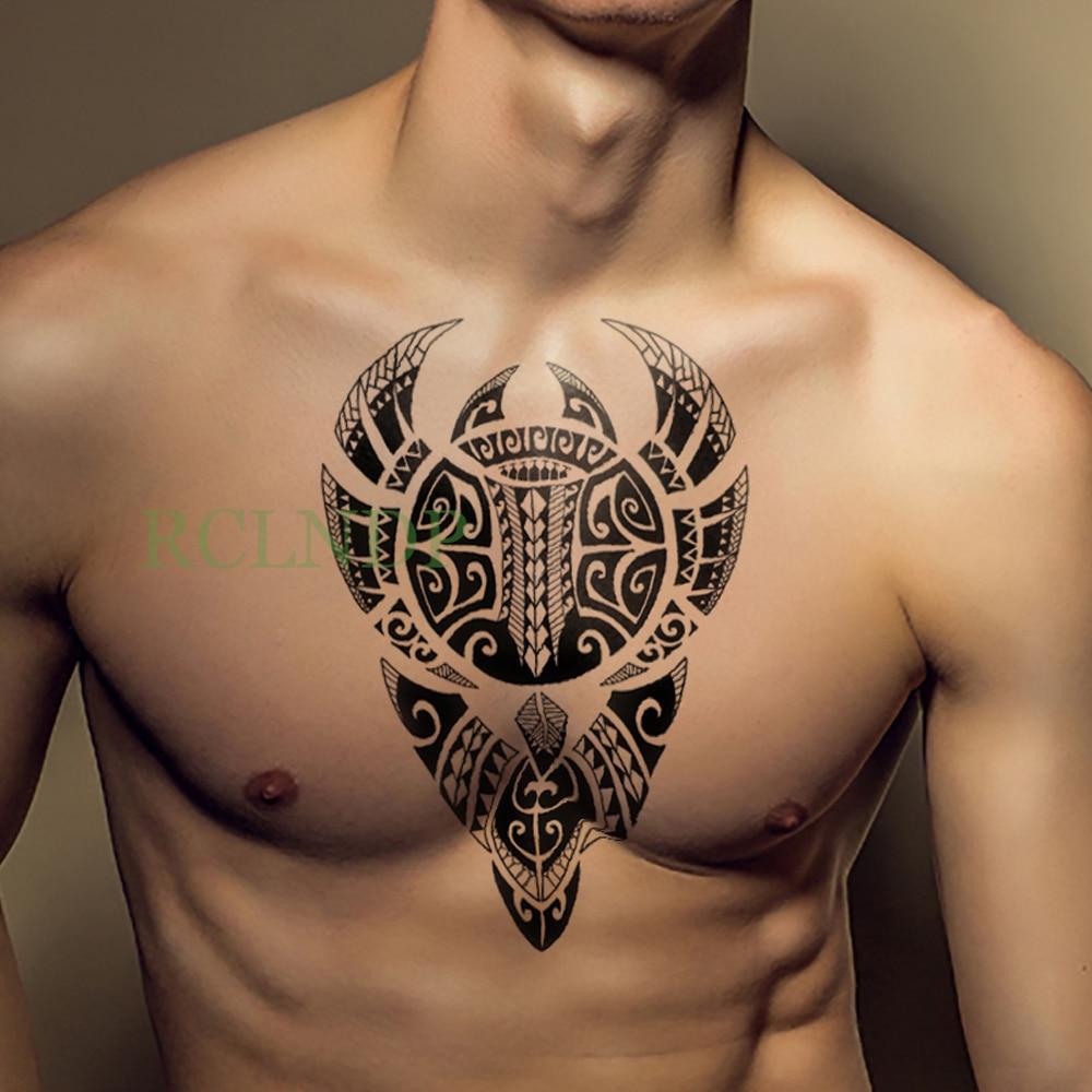 Waterproof Temporary Tattoo Stickers Tribal Totem Old School Fake Tatto Flash Tatoo Back Leg Arm Belly Big Size For Women Men
