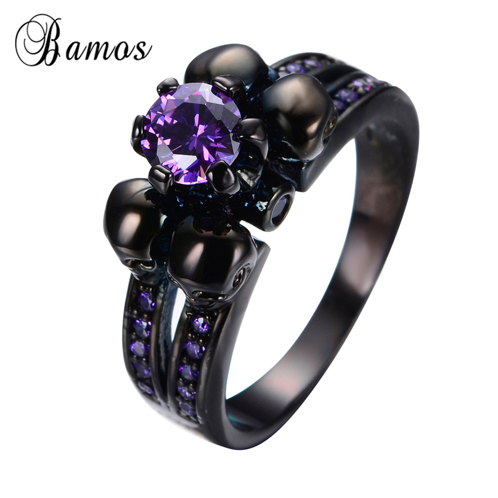 Hot Sale Antique Purple Cz Engagement Ring Punk Black Gold Filled Skull  Rings For Women And
