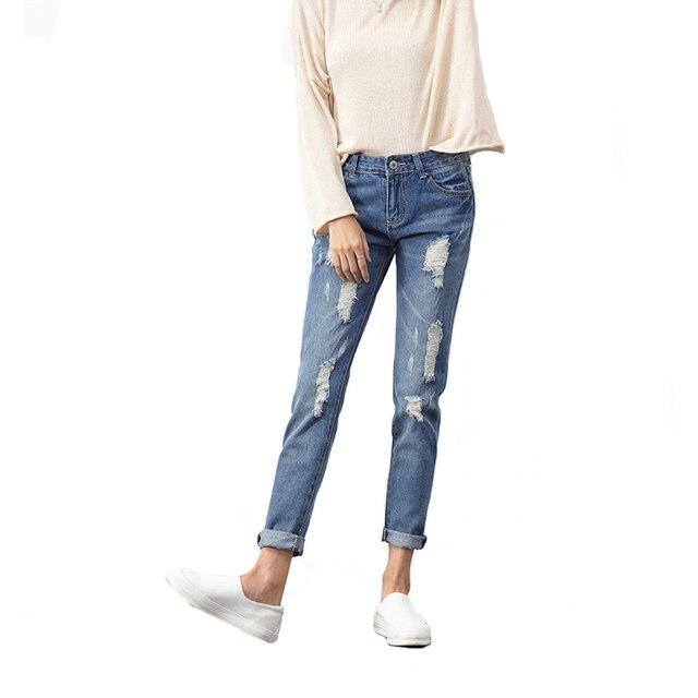 7d82b979e564 Fashion Spring Summer Ripped Holes Pants Jeans Women Slim Vintage Long Jeans  Casual Loose Cotton Denim