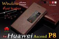 Top Pure Leather Huawei Ascend P8 Genuine Leather Case Smart Windows Dormant Cowhide Leather Flip Phone