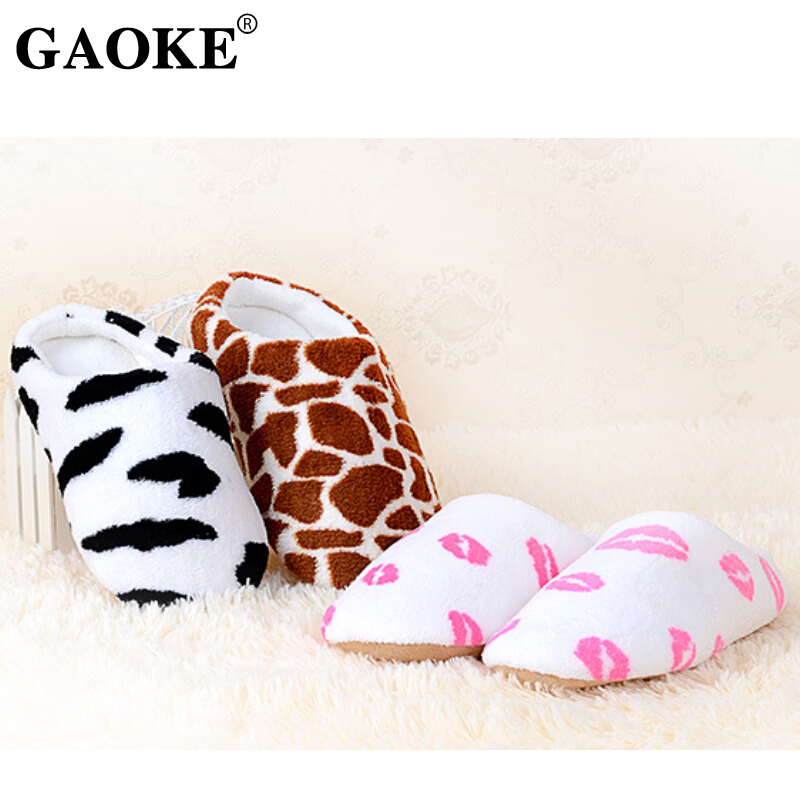 2019 Winter Woman Slippers Woman Shoes Soft Plush Indoor Home Furry Slippers Woman Warm Shoes For Bedroom Couple Winter Slippers