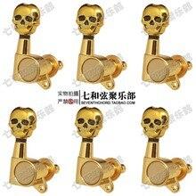 Vergoldung skeleton kopf 6 rechts elektrische gitarre string tasten/folk gitarrensaite knöpfe/string achsen/string wickler