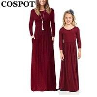 COSPOT Mother And Daughter Beachwear Long Dress Girls And Mom Bohemian Long Sleeved Plain Dress Princess