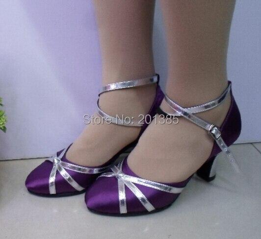 Free Shipping Wholesale Women Purple Satin Closed Toe Ballroom Salsa Latin Standard Smooth Dance Shoes Tango Dance Shoes