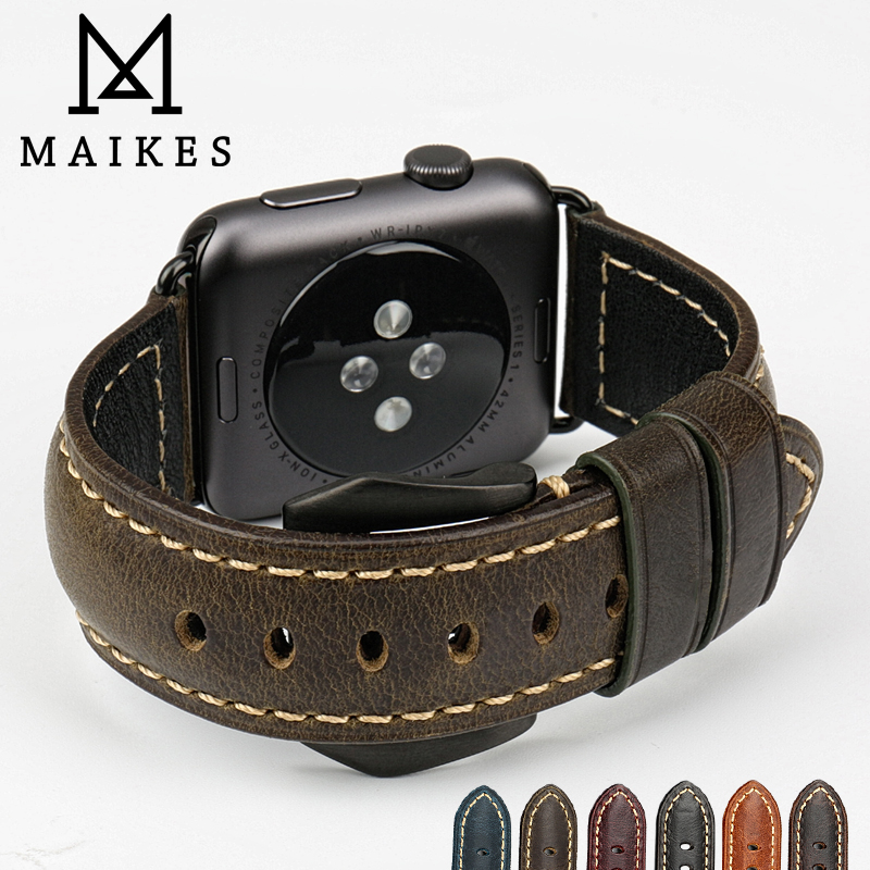 MAIKES Watch accessories leather watchband with black buckle for Apple watch band 42mm iwatch series 1&2 Apple Watch strap 38mm