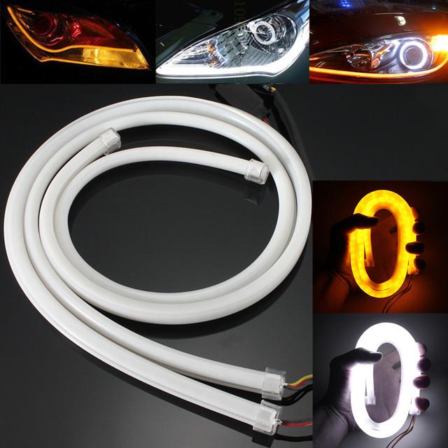 2 UNIDS 85 cm 3020 SMD 204 LED Flexible Suave Tubo Guía Coche Auto Tira Ámbar Blanco DRL Luz Corriente Diurna de La Lámpara de Señal de Vuelta DC12V