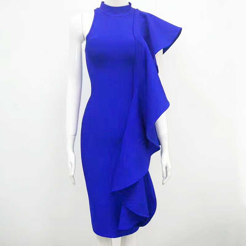 Multicolored Blue Shoulder binding fashion bandage dress star annual meeting hosted