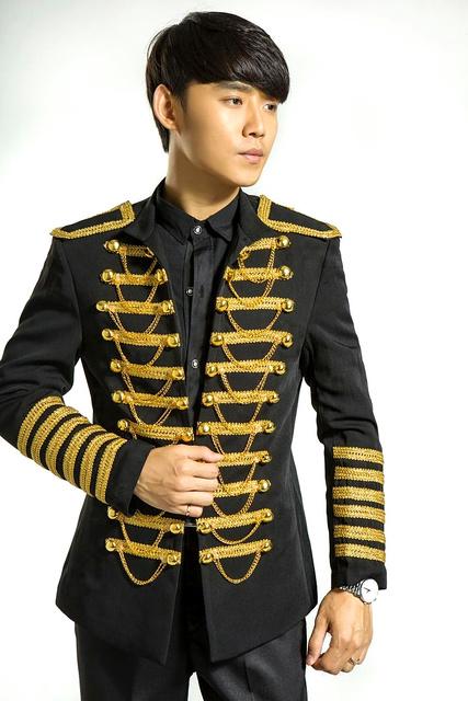 100% real preto/vermelho bordado de ouro geral smoking jacket/evento de desempenho/estágio/clube/cantar/dança blazers este é apenas jaqueta
