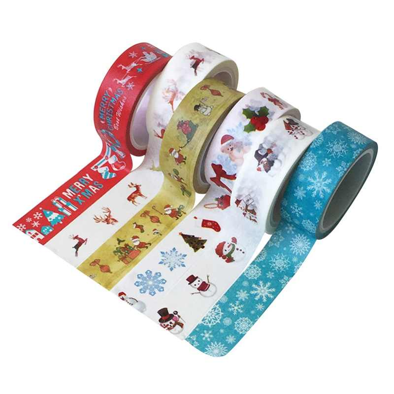 1PC Decorative Christmas Washi Tape Set DIY Scrapbooking Adhesive Tape Masking Tape School Office Supply