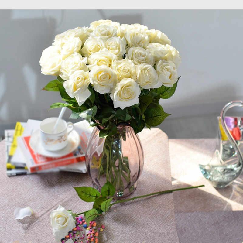 10 шт. 11 шт./партия Шелковая Роза искусственная Цветы Реальные на ощупь розы цветы для нового года украшения дома свадьбы подарок на день рождения