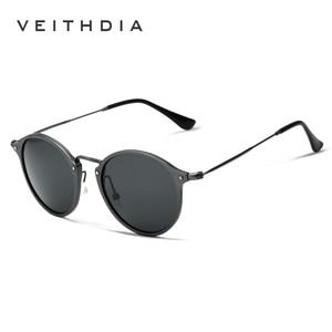 Image 3 - VEITHDIA Brand Designer Sunglasses Fashion Sun Glasses Polarized Coating Mirror UV400 Lens Round Male Eyewear For Men/Women 6358