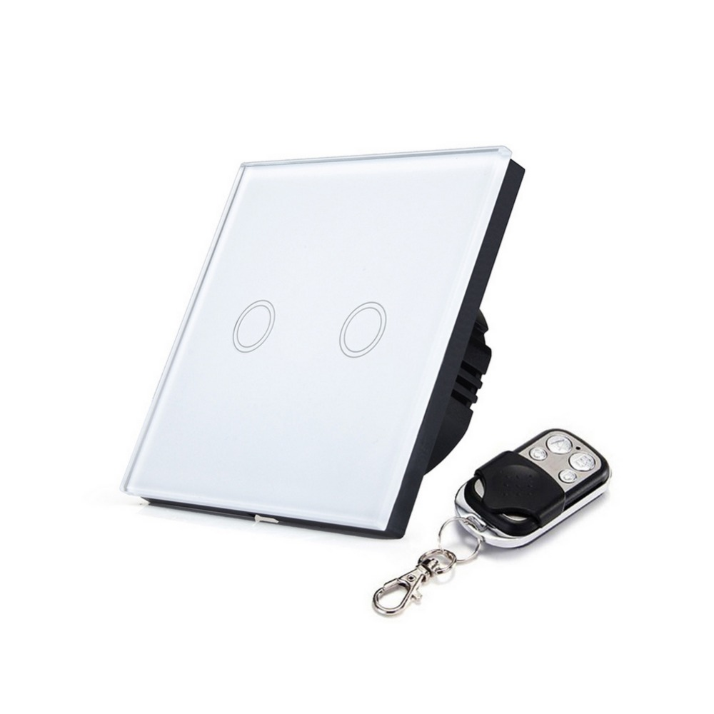 US /EU Standard 2 gang Touch & Remote Switch Tempered Glass Panel in High Quality 3 colors Wireless Remote Control Home Switches