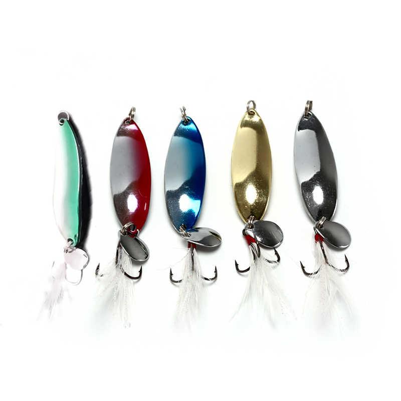 5 ألوان 3.4 سنتيمتر 9 جرام المعادن الترتر مع ريشة الصيد السحر ملعقة إغراء الطعوم باس بايك الصيد الصعب معالجة