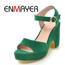 7f1fd6e0 ENMAYER wiosna ręcznie wykonane wysokiej jakości obcasie sandały Flock buty  z poliuretanu dla pań dorywczo kobieta buty 34-39 zi.