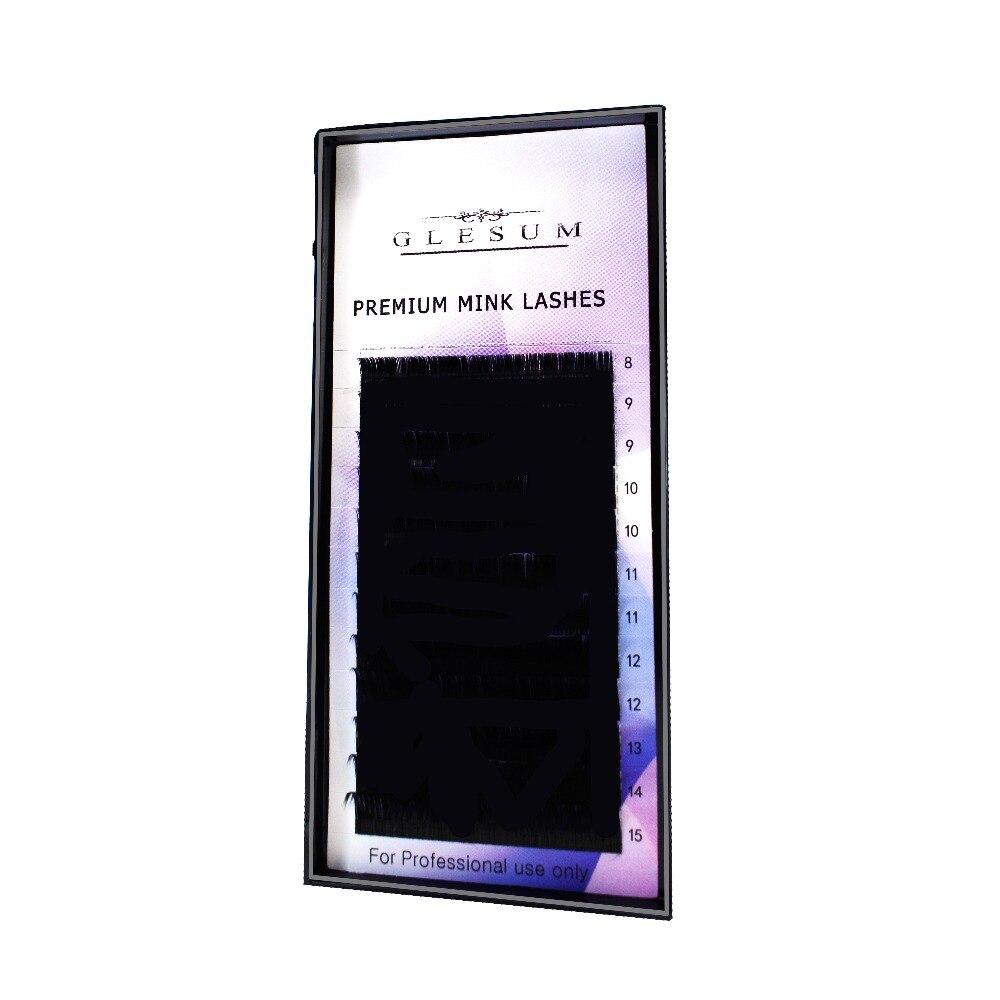 GLESUM 1 pc 0.03 C 14mm Curl Mink Eyelash Extension Super Thin Soft Material Lash free shipping