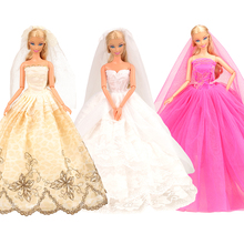 Newest Fashion Handmade 3 Items/set 20cm doll clothes long tail wedding party dress For Barbie Doll Clothes Set Birthday Gift handmade pure white wedding gown with sequin copy pearl beads gorgeous dress limited edition clothes for barbie doll kurhn fr