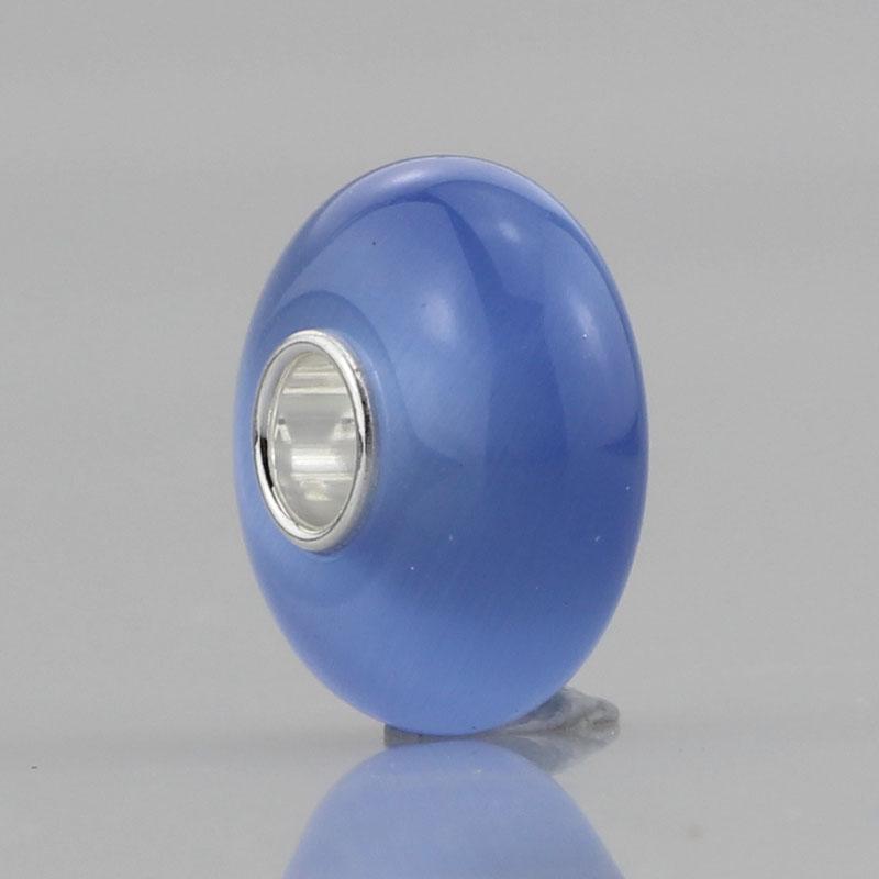 Human Made Blue Cat`s Eyes Stone Charm 4.5mm Hole 925 Sterling Silver Bead Fit European Brand DIY Troll Bracelet Jewelry