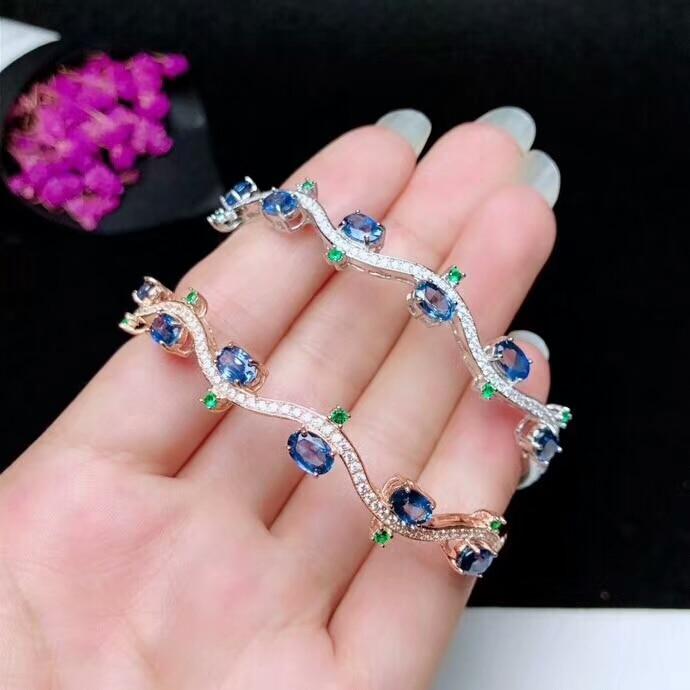 [MeiBaPJ] 925 Sterling Silver Natural Sapphire Gemstone Bracelet for Women Fine Bangle Wedding Jewelry [meibapj]real natural emerald gemstone bracelet 925 sterling silver green stone bangle for women fine wedding jewelry
