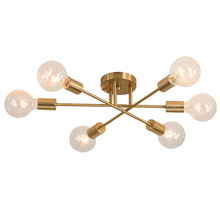 Golden Modern Speynick LED Chandelier Brushed Copper Lighting 6 Light Living Room Bedroom Home