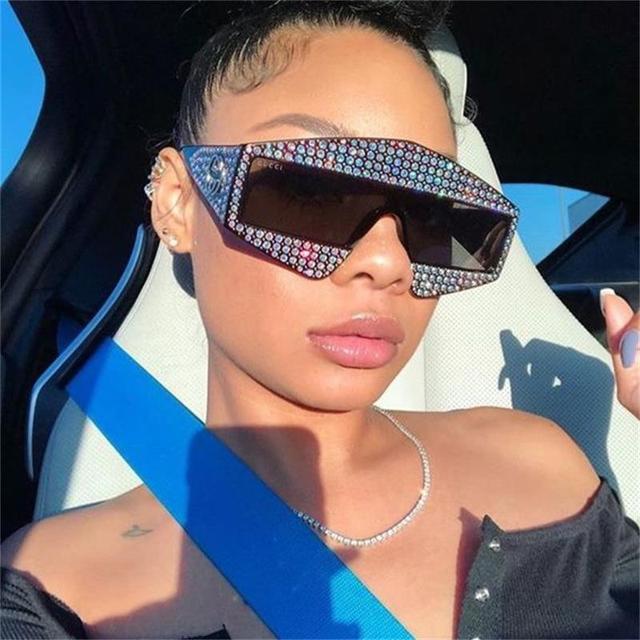 Негабаритные солнцезащитные очки со стразами женские винтажные Роскошные паровые панк очки женские солнцезащитные очки женские оттенки большие солнечные очки в оправе