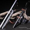 Функциональный тактический короткий самурайский меч Танто 1060  высокая сталь  гравированный узор  черный шар с ремешком  охотничий нож