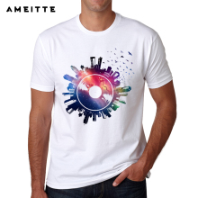 Creative Vinyl Record cosmic city men's t-shirt
