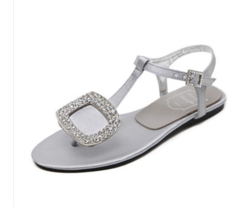 a7c5c5256 Ladies Silk Flip flops High quality Rhinestone Buckle Flats Sandals Black  Silver Plus size 11 34 T Strap Rome Shoes Fashion Cute-in Women s Sandals  from ...