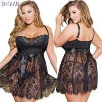 Sexy Babydoll Dessous Erotische Frauen Schwarz Spitze Plus Größe Kostüm Nachtwäsche Kleid Transparenten Hohl-out Chemise Sexy Unterwäsche