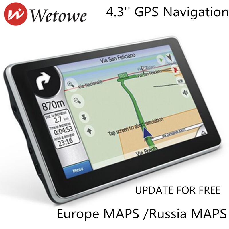 Wetowe G3 4  3 inch TFT-LCD Touch Screen Car GPS Navigation The Latest map  for Europe and Russia WITH FM| Multimedia Player
