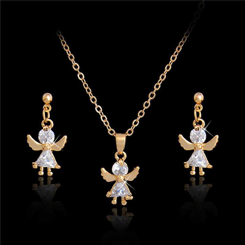 H: Hyde Elegan Mewah Perhiasan Set Desain Fashion Emas Diisi Colorful Austria Crystal Anting-Anting Kalung DROP Perhiasan Set Wanita