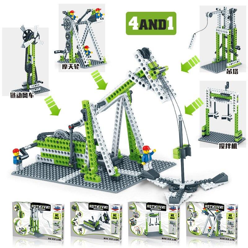 Déformation bricolage équipement technologie bloc de construction roue rotative Intelligence des enfants machines créatives assemblage jouet Collection