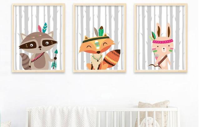 Nordic Poster Nursery Prints Cartoon Painting Picture Baby Bedroom Decoration Tribe Woodland Animal Bear Fox Wall Art Canvas