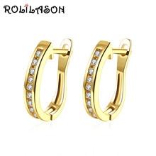 Rolilason простой с украшением в виде кристаллов белый циркон Золотой пышные обруч серьги, нержавеющая сталь, повседневные офисные женские туфли women0 JE1179