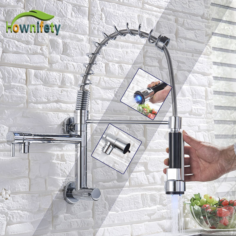 LED or not Spring Kitchen Faucet 2 spout one Handle Single Cold Water Washing Wall Mount