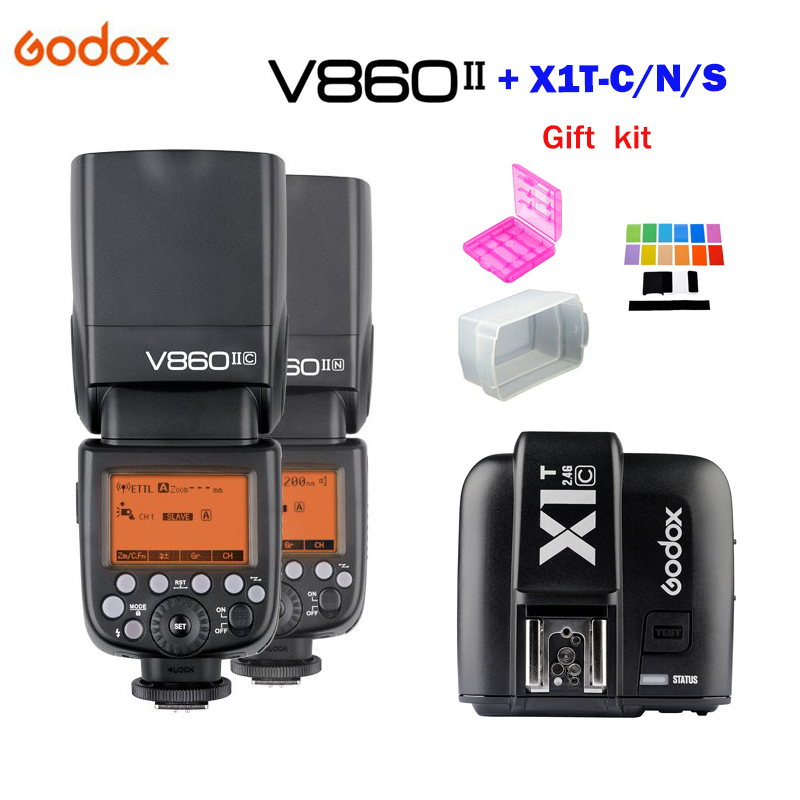 Godox V860II GN60 TTL HSS 1/8000s Speedlite Flash with Li-ion Battery + X1T-C/N/S Flash Transmitter for Canon Nikon Sony DSLR meike mk d750 battery grip pack for nikon d750 dslr camera replacement mb d16 as en el15 battery