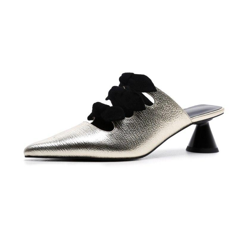 Arc Mode Talons Découpes Bout De D'été White golden Femmes Dames Noeud Pointu Or Pantoufles Chaussures Chaton Blanc Diapositives Mules Luchfive Trois rCexBod