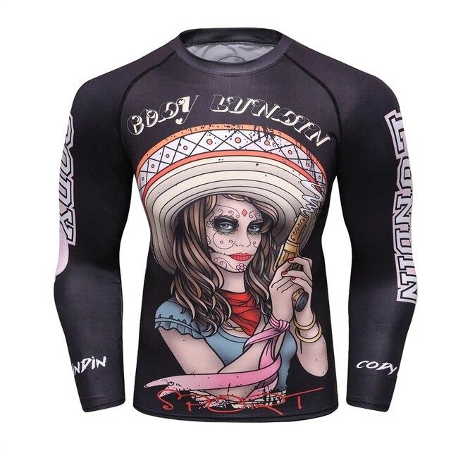 Рубашка сжатия Для мужчин базы Слои летняя одежда с длинным рукавом 3D принт Термальность под ММА Rashguard колготки кожи человека футболка Cody лундин