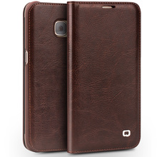 QIALINO Genuine Leather Phone Case for Samsung Galaxy S7 Card Slots Ultra Thin Flip Cover for Galaxy S7 edge for 5.1/5.5 inch
