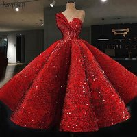 Long Glitter Arabic Style Evening Dresses 2018 One Shoulder abendkleider Puffy Red Sequined Formal Evening Gowns Party