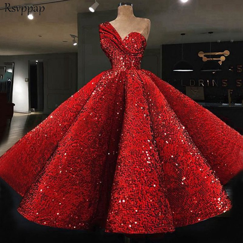 Long Glitter Arabic Style   Evening     Dresses   2019 One Shoulder abendkleider Puffy Red Sequined Formal   Evening   Gowns Party