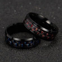 2019 Titanium Staal Black Carbon Fiber Ringen Fashion Rood Blauw Ring Anel Masculino Mens Cool Sieraden(China)