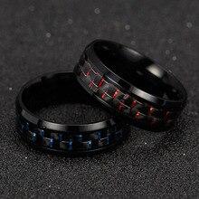 2019 anillos de titanio acero negro fibra de carbono moda anillo rojo azul Anel Masculino hombres Cool Jewelry