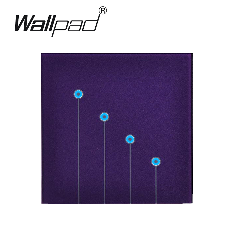 Free Shipping,Purple Tempred Glass Switch Panel 4 Gangs 1 Way Wallpad UK Standard Touch Switch, Wall Light Touch Screen Switches цена