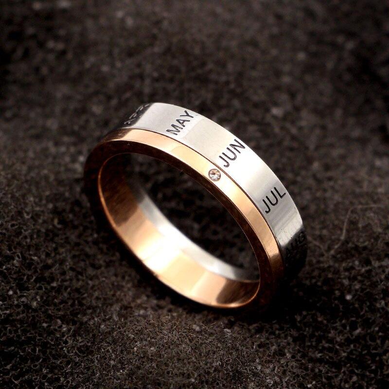 Купить кольцо из титановой стали с буквами розовое золото и серебро