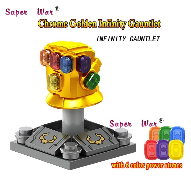 50pcs Marvel Avengers 3 Infinity War Thanos Infinity Gauntlet Chrome Golden With 6 Gems building block