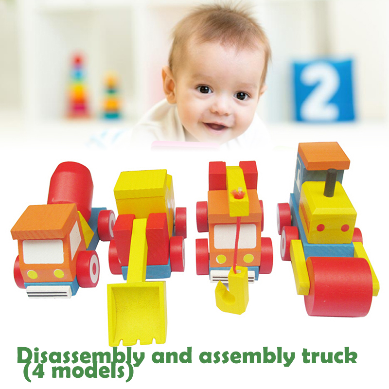 Assemble Car Toys Wooden Car Toy Assemble Car Blocks Multicolor Desktop Decor Kidsroom Durable Parent-Child Toy Baby Toy Kids