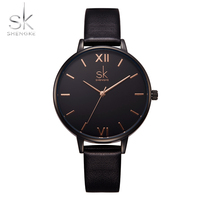 SK Original Vintage Marble Dial Wrist Watch Women Lady Girl Leather Quartz Watches Gift For Girlfriend